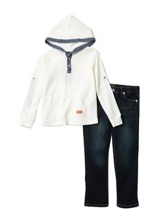 7 For All Mankind Hood Long Sleeve Shirt & Denim Pants Set (Toddler Boys)
