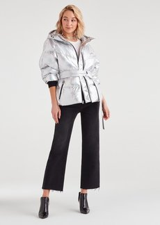 7 For All Mankind Hooded Belted Down Parka in Silver