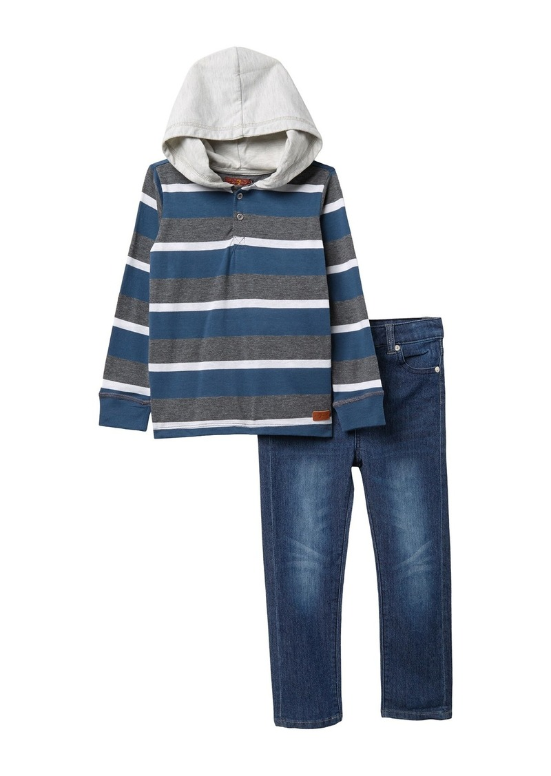 7 For All Mankind Hooded Top & Jeans Set (Toddler Boys)