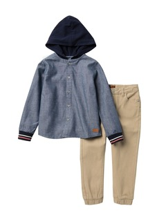 7 For All Mankind Hooded Top & Joggers Set (Toddler Boys)