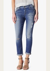 7 For All Mankind Josefina Boyfriend With Destroy in Bright Blue Bell