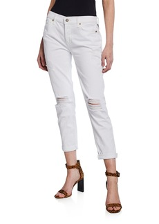 7 For All Mankind Josefina Destroyed Cropped Jeans  Clean White 3
