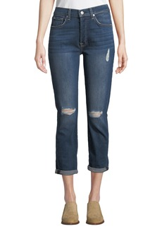 7 For All Mankind Josefina Faded Cropped Skinny Jeans