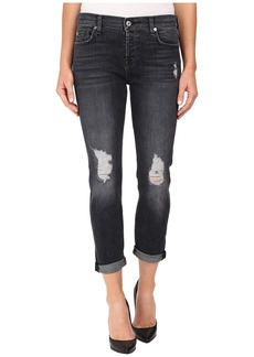 7 For All Mankind Josefina w/ Destroy & Shadow Pockets - Clean Back Pocket in Black Shadow 2