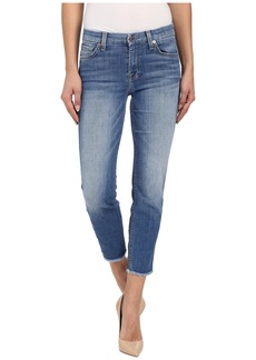 7 For All Mankind Kimmie Crop w/ Raw Hem in Vivid Authentic Blue