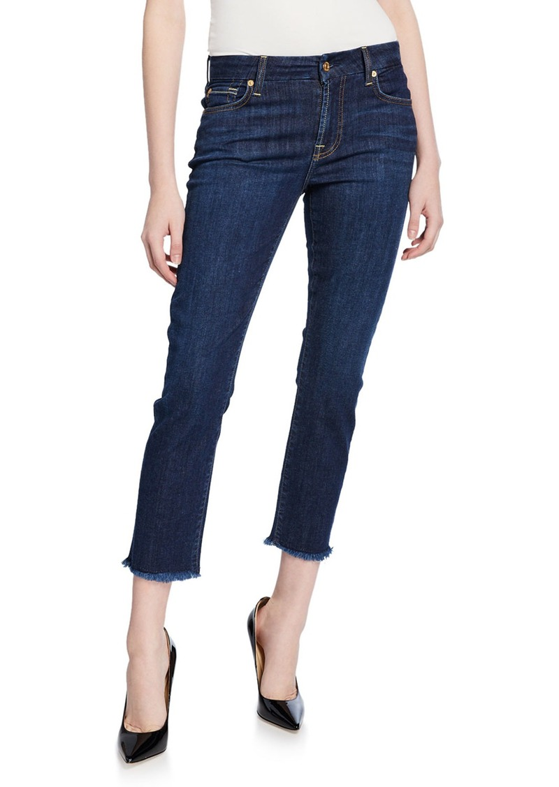 7 For All Mankind Kimmie Cropped Frayed Jeans with Squiggle Pocket
