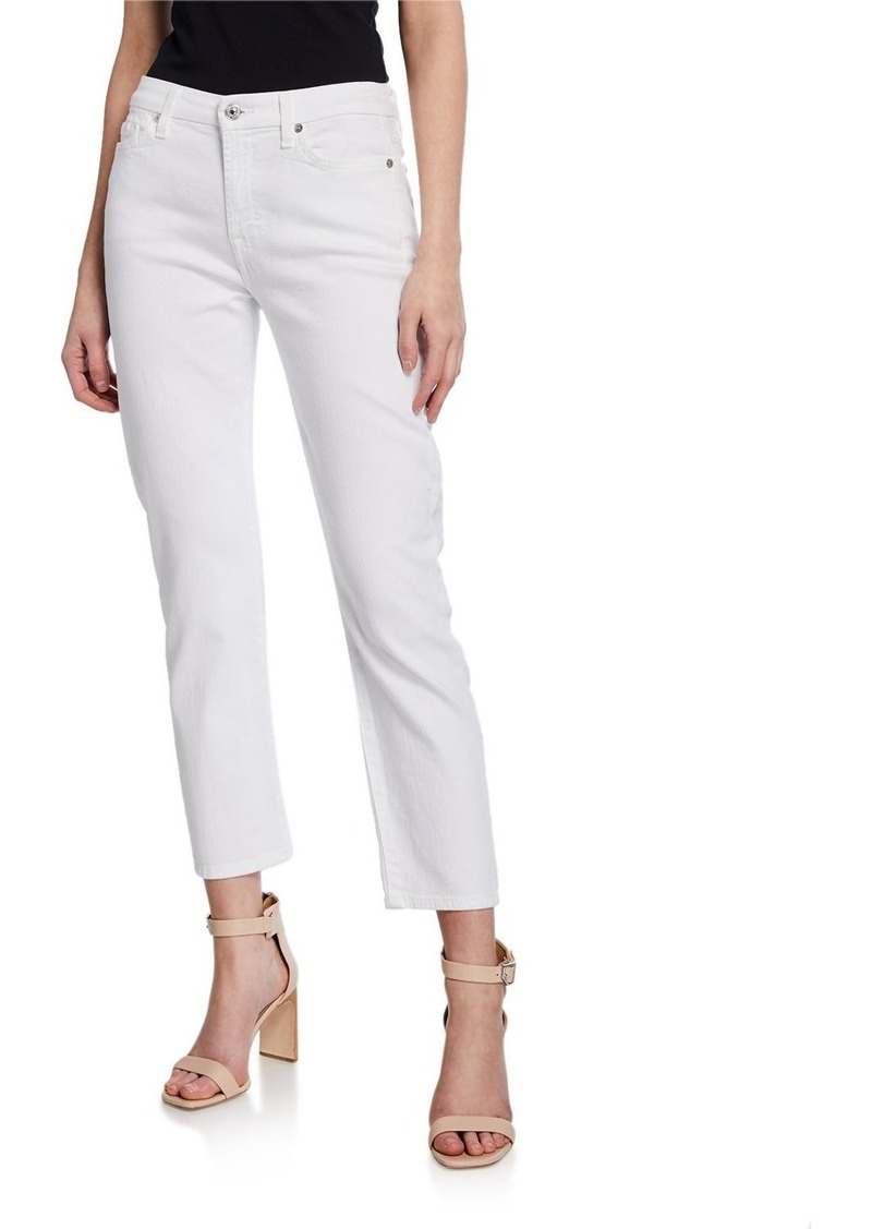 7 For All Mankind Kimmie Straight-Leg Cropped Jeans  Clean White