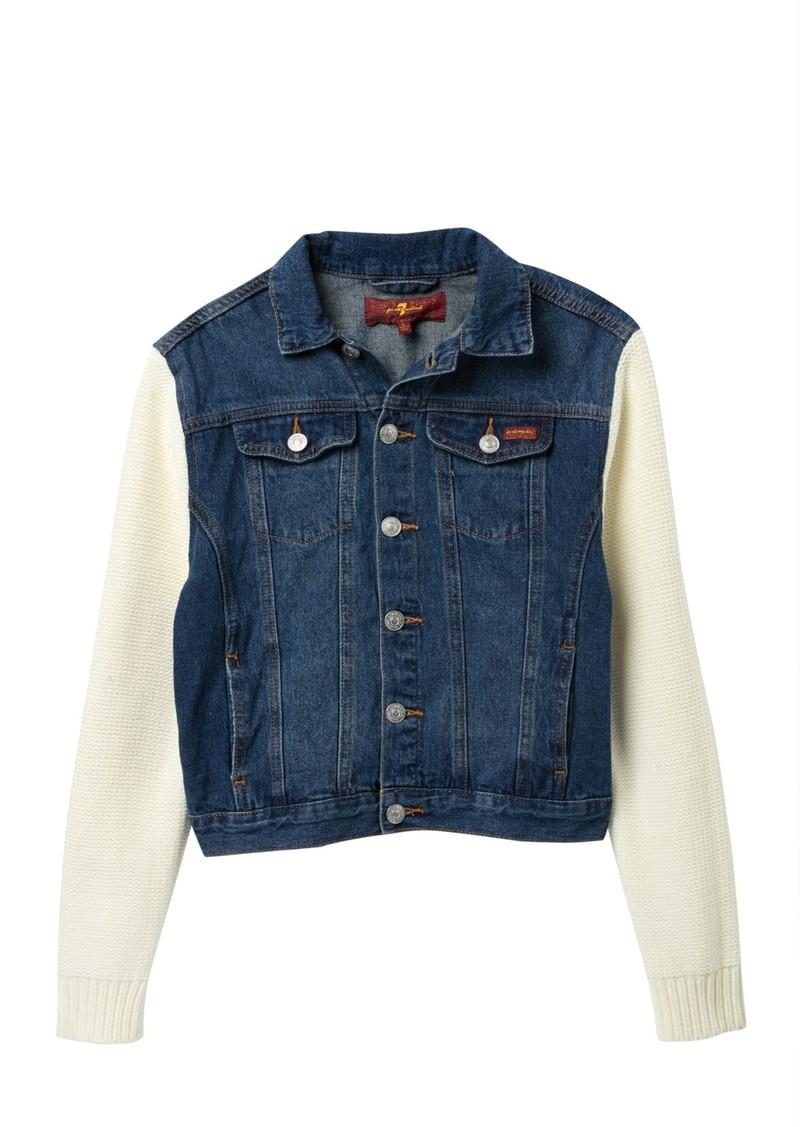 7 For All Mankind Knit Sleeve Denim Jacket (Big Girls)