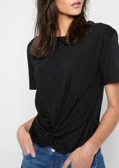 7 For All Mankind Knotted Front Tee in Black