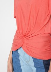 7 For All Mankind Knotted Front Tee in Poppy