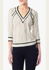 7 For All Mankind Lace Cricket Sweater in Cream/Black