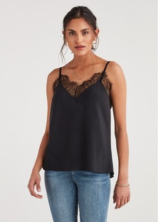 7 For All Mankind Lace Trim Cami in Jet Black