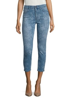 Lasered Rose Printed Cropped Skinny Jeans