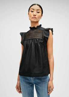 7 For All Mankind Lattice Detail Top in Jet Black