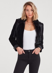 7 For All Mankind Leather and Faux Fur Jacket in Black