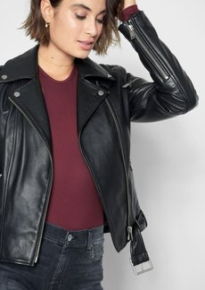 7 For All Mankind Leather Asymmetrical Zip Belted Moto Jacket in Black
