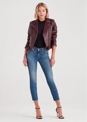 7 For All Mankind Leather Basic Biker Jacket in Black Bordeaux