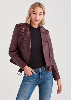 7 For All Mankind Leather Basic Biker Jacket in Black Bordeaux