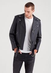 7 For All Mankind Leather Biker Jacket in Black