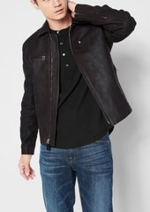 7 For All Mankind Leather Biker Jacket in Black Coffee