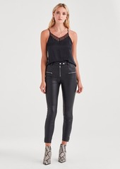 7 For All Mankind Leather Biker Pant in Black