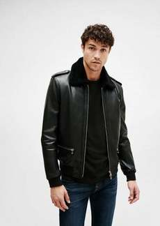 7 For All Mankind Leather Bomber in Black