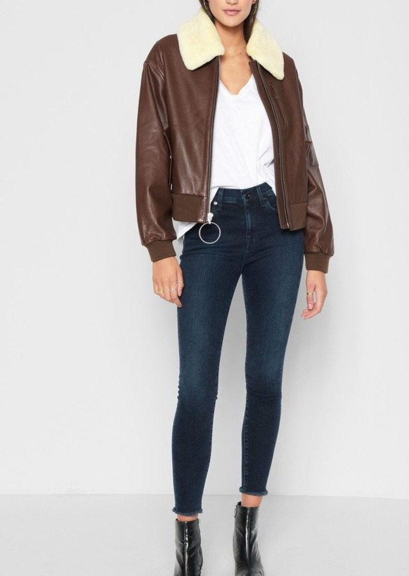 7 For All Mankind Leather Bomber with Sherpa in Cognac