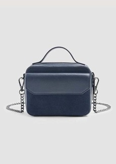 7 For All Mankind Leather Cube Bag in Navy