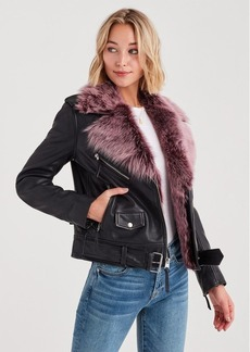 7 For All Mankind Leather Jacket with Removable Shearling in Black