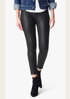 Leather Like Knee Seam Skinny in Black