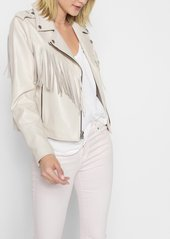 7 For All Mankind Leather Moto Jacket with Fringe in Cream