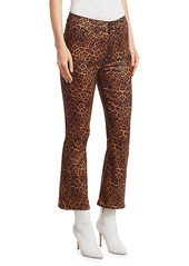 7 For All Mankind Leopard-Print High-Rise Slim-Fit Kick Flare Jeans