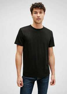 7 For All Mankind Linen Crewneck Tee in Black