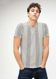 7 For All Mankind Linen Crewneck Tee in Chevron Print