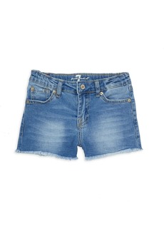 7 For All Mankind Little Girl's & Girl's Raw-Edge Denim Shorts