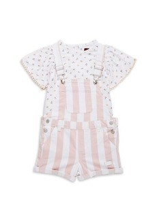 7 For All Mankind Little Girl's 2-Piece Floral Top & Striped Shortalls Set