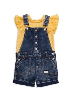 7 For All Mankind Little Girl's 2-Piece Ruffle Top & Denim Shortall Set