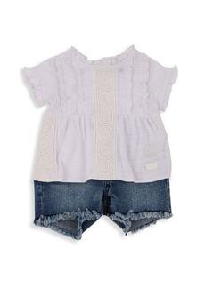 7 For All Mankind Little Girl's 2-Piece T-Shirt & Denim Shorts Set