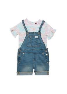 7 For All Mankind Little Girl's 2-Piece Tie-Dye Top & Denim Shortalls Set