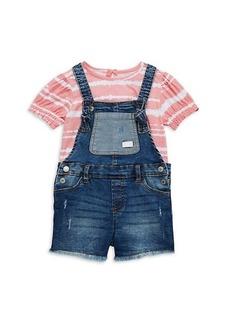 7 For All Mankind Little Girl's 2-Piece Tie-Dye Top & Distressed Denim Shortalls Set