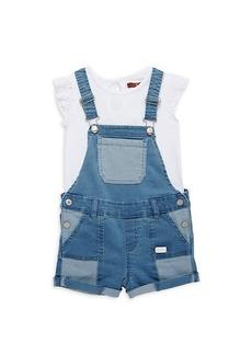 7 For All Mankind Little Girl's 2-Piece Top & Denim Shortalls Set