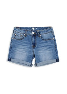7 For All Mankind Little Girl's Rolled Cuff Denim Shorts