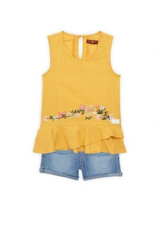 7 For All Mankind Little Girl's Two-Piece Floral-Embroidered Sleeveless Peplum Top & Denim Shorts Set