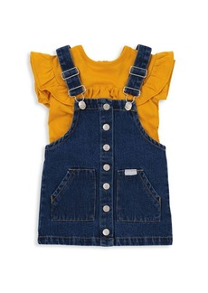7 For All Mankind Little Girl's Two-Piece Shirt & Overall Dress Set
