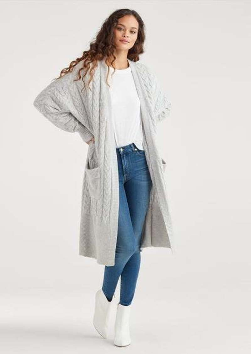 7 For All Mankind Long Cardigan in Heather Grey