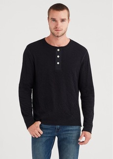 7 For All Mankind Long Sleeve Army Henley in Black