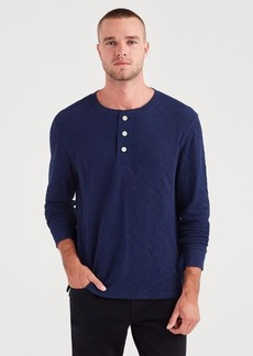 7 For All Mankind Long Sleeve Army Henley in Midnight Navy