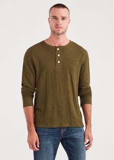 7 For All Mankind Long Sleeve Army Henley in Military Olive