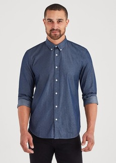7 For All Mankind Long Sleeve Button Down Collard Shirt in Indigo Dobby