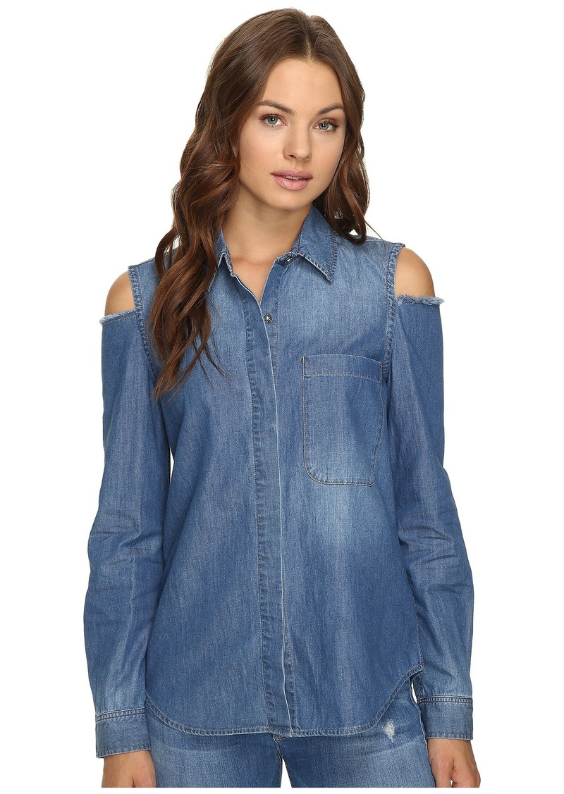 3fd5cea55b 7 For All Mankind Long Sleeve Cold Shoulder Denim Shirt in Authentic Vista  Blue